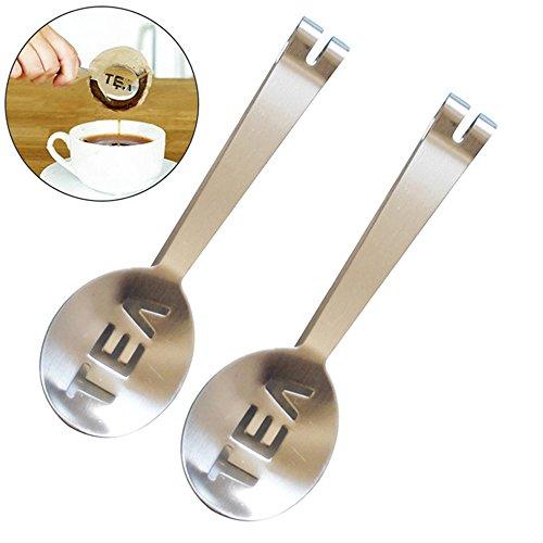 2 Pcs Stainless Steel Tea Bag Tongs Teabag Squeezer Strainer Holder Grip Metal Spoon Mini Sugar Clip Kitchen Bar Tools
