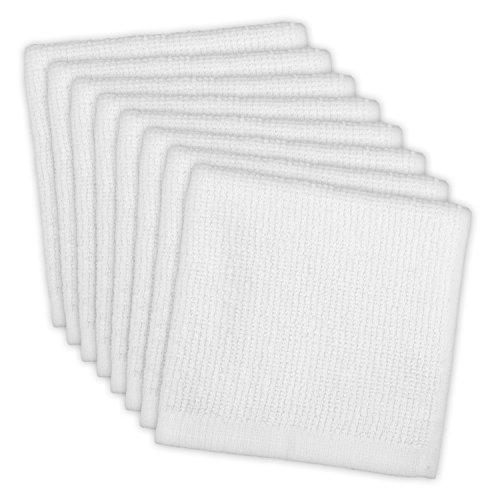 DII Cotton Machine Washable Monogrammable Everyday Kitchen Basic Utility Bar Mop Dishcloth 12 x 12 Set of 8- White