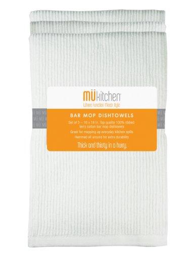MUkitchen Microfiber Bar Mop Dishtowel 12 by 12-Inches Set of 3 White