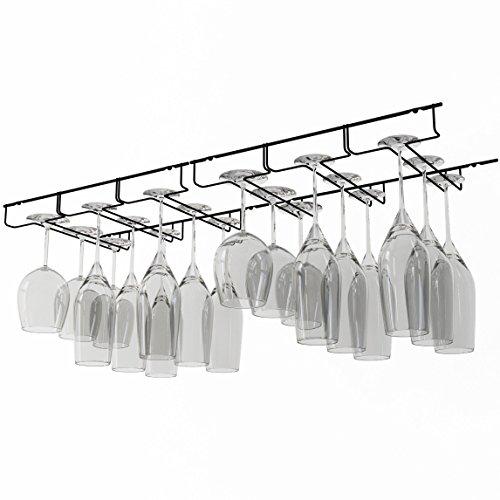 WALLNITURE Stemware Wine Glass Hanger Rack Under Cabinet Kitchen Bar Storage Black 13 Inch Set of 2