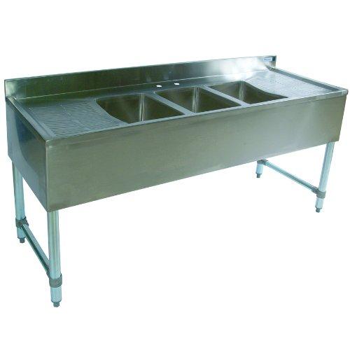BK Resources BKUBS-372T 3-Compartment Underbar Sink  72 Length
