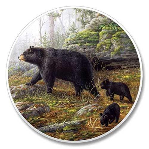 Black Bear Family Stone Auto Car Coaster 1