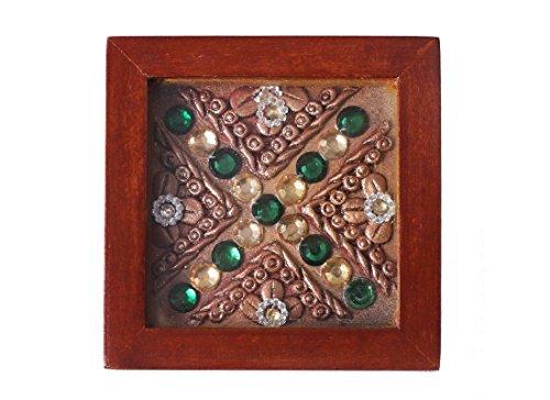 CraftedIndia Handmade Wooden Coasters with Holder
