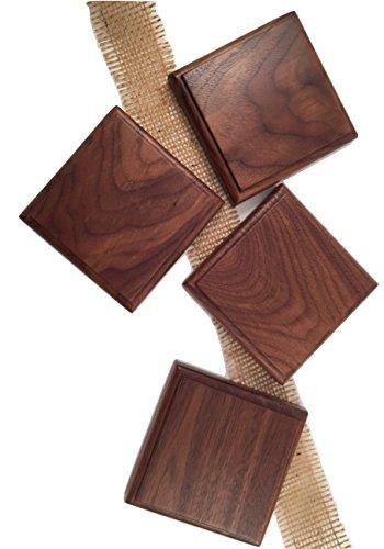 Handmade Wooden Coasters - Walnut - Set of 4 and 6 4x4x12 inch Varnish Finish
