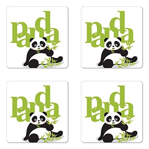 Panda Coaster Set of Four by Lunarable Panda Eating Bamboo Asian Natural Environment Endangered Species Cartoon Art Square Hardboard Gloss Coasters for Drinks Green Black White