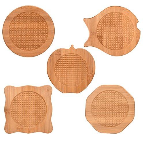 Bamboo Trivets 5 PCS Natural Bamboo Hot Pots Trivet Mat Set 6 Wood Hot Pads Pot Bamboo Coasters with Anti-Slip Durable Pads for Hot Dishes Bowl Teapot Hot Pot Holders Heat Resistant