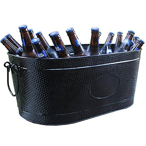 BREKX Heavy-Duty Black Galvanized Creighton Pebbled Beverage Tub Party Chiller - Large