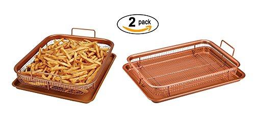 2 Pack Copper Baking Tray Air Fryer - Deluxe Multi-Purpose Copper Crisper Chef Pan Sheet with Non Stick Mesh Grill Crisper Tray - Oven Safe Non-Stick Square Pan Design by MareLight