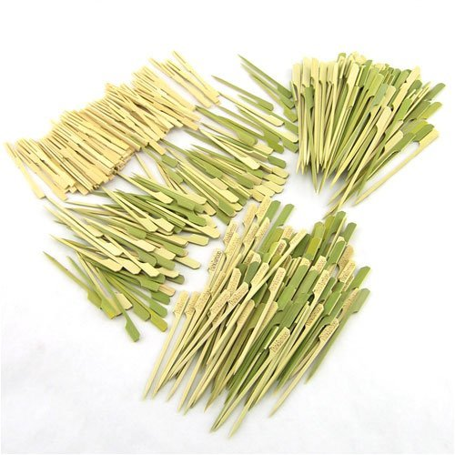 400 pcs Bamboo SkewerDecorative Cocktail Picks Assortment 11 Paddle Picks and Mini Forks by BambooMN