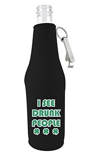 Coolie Junction I See Drunk People Funny Bottle Coolie Black wOpener