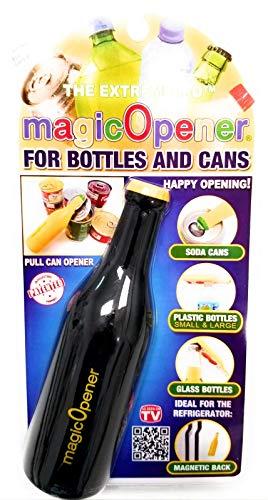Multi-use 5 in 1 bottle opener- magicOpener Extreme Black- Magnetic plastic and glass bottle-can opener- Arthritis