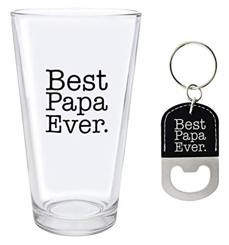 Papa Gifts Best Papa Ever Keychain Papa Glass Black Bottle Opener Keychain Pint Glass Barware Bundle