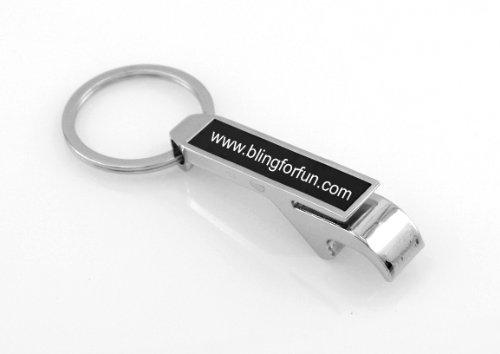 Personalized Silver  Black Bottle Opener Keychain - Free Laser Engraving