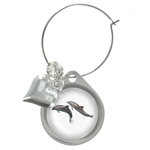 Dolphins Image Design Wine Glass Charm with Beads