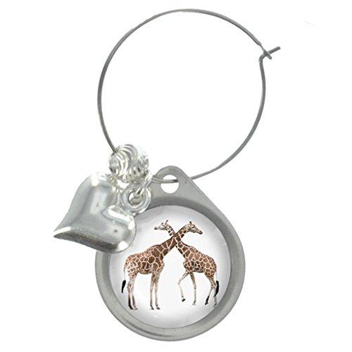 Giraffes Image Design Wine Glass Charm with Beads