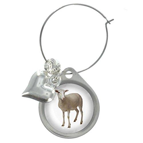 Lamb Image Design Wine Glass Charm with Beads