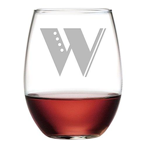 Susquehanna Glass AZ-9542-3206-4-W Deco Monogram W Stemless Wine Tumbler Set of 4 21 oz Etched
