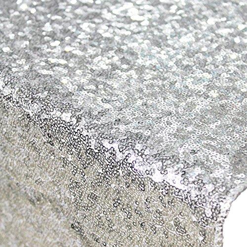 1 Yard Sequin Fabricshiny Silver Sequin Glamorous Tablecloth for Weddingdessert Table 125cm Width