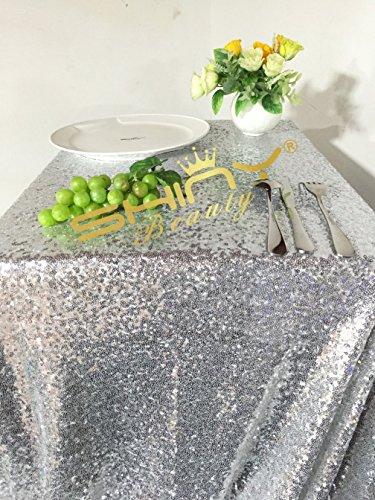 48inx72in SILVER SEQUIN TABLECLOTHSilver Wedding Tablecloth Silver Glitter Tablecloth Silver Sparkly Tablecloth