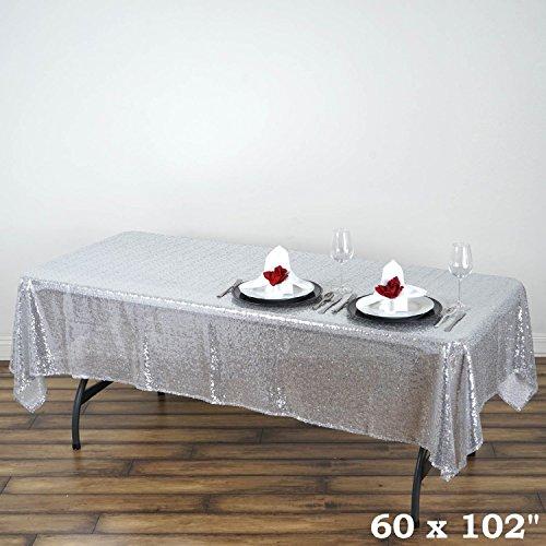 ShinyBeauty 60inx102in Sequin Tablecloth For WeddingParty-- Silver 2