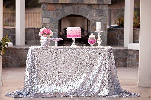 ShinyBeauty 60inx102in Sequin Tablecloth-Rectanglar-Silver-for WeddingChristmasBlack Friday Party Linen Silver