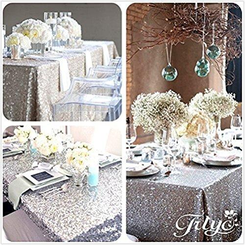 TRLYC 60102 Silver Luxe Party Wedding Decor Sequin Rectangle Table Decor Shimmer Glitz Tablecloth