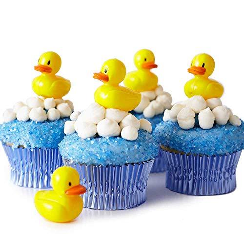 Cakegirls 24 Baby Shower Cupcake Picks Toppers Kit - 24 Rubber Ducky Picks 30 Light Blue Foil Cupcake Liners 4 oz Blue Sugar Sprinkles