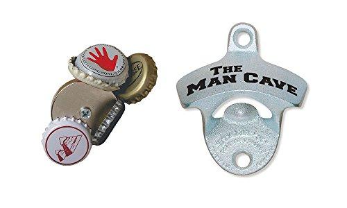 Bottle Opener Accessory Bundle 1 Magnetic Bottle Cap Catcher  1 The Man Cave Wall Mount Bottle Opener