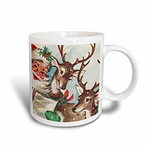 3dRose mug_172198_1 Santa and The Singing Reindeer Vintage Ceramic Mug 11-Ounce