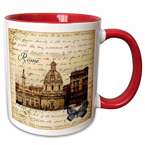 3dRose mug_178934_5 Rome Italy vintage Two Tone Red Mug 11 oz RedWhite