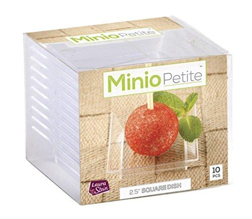 Minio Petite Square Mini Dessert Plates 25 x 25 Clear Pack of 20 Mini Dessert Plates