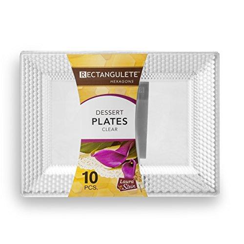 Rectangulete Hexagons Crystal Clear Hard Plastic Elegant Disposable 75 Inch Rectangle Dessert Plates 10 Pack