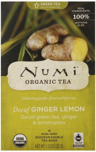 Numi Organic Tea Decaf Ginger Lemon Decaffeinated Green Tea 16 Count non-GMO Tea Bags
