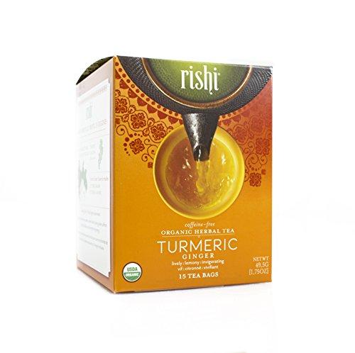 Rishi Tea Organic Turmeric Ginger Tea Bags 15 Count  Pack of 6