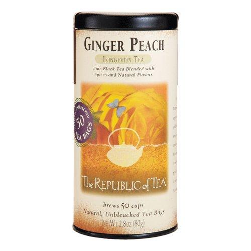 The Republic of Tea Ginger Peach Black Tea Caffeinated 50 Tea Bags