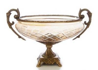 14 Amber Glass Brass Bowl