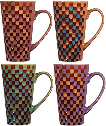 Colorful Tasty Ceramic Coffee Mug with Handle – Set of 4 Ceramic Tea Cups Set - Tall Ceramic Latte Mugs Set Round Checker