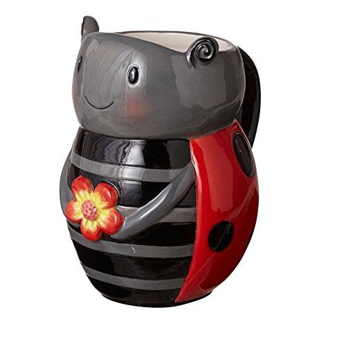 Midwest CBK Cute Earthenware Animal Shaped Novelty Coffee Mug with Handle - 15 Ounce Ladybug
