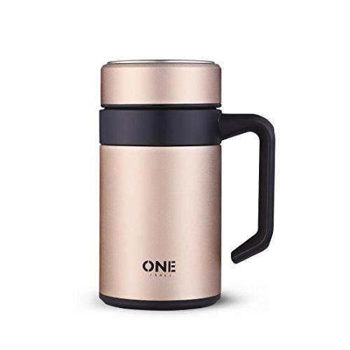 ONEISALL GYBL451 400ML135oz Office Coffee Desk Mug Double Wall Insulated Coffee Mug with Handle Gold