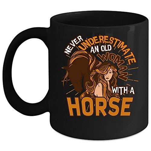 An Old Woman With A Horse Coffee Mug Funny Grandmas Coffee Cup Coffee Mug 11oz - Black