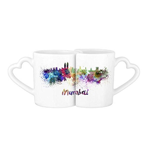 Mumbai India Country City Watercolor Illustration Lovers Mug Lover Mugs Set White Pottery Ceramic Cup Gift Milk Coffee Cup with Handles