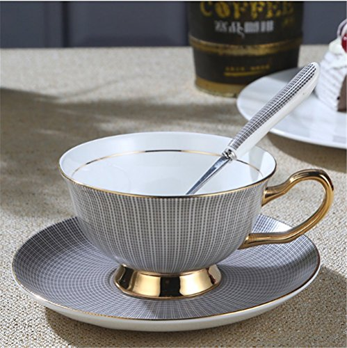 Europe Noble Bone China Coffee Cup Saucer Spoon Set 200ml Luxury Ceramic Mug Porcelain Tea Cup Tray Cafe Grey