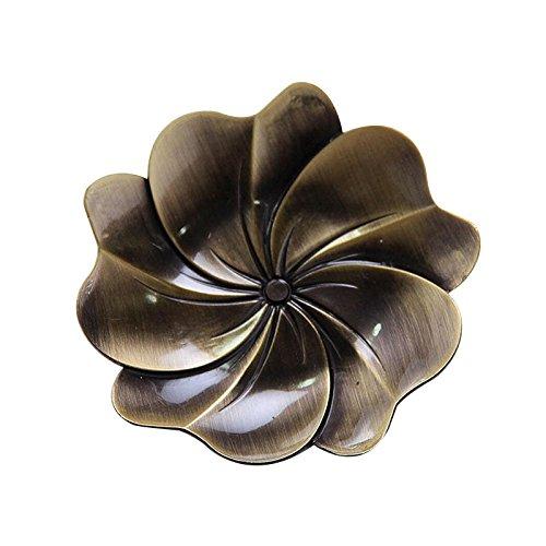 Lida - Drink Coasters - 3pcs Petal Shaped Metal Tea Cup Tray Black Tea Tray White Tea Cup Mat 92X12cmBronze