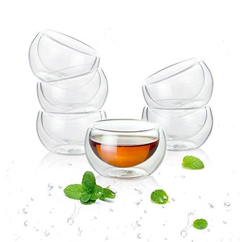 Luxtea Double-walled Borosilicate Teacup Glass Heat-resisting Tea Cup Hold 2 Oz Set of 6