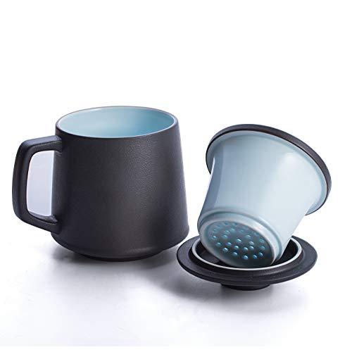 SULIVES Ceramic Tea Mug with Infuser and Lid 14 OZ Tea Cups Black