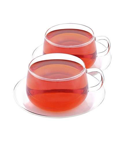 VAHDAM Glitter - Set of 2 Tea Cup Saucer  Borosilicate Glass Tea Cups Saucers Sets  845 oz Capacity - DURABLE - Tea Cup Set 4 Pcs - Microwave Refrigerator Dishwasher Safe  Coffee Mugs