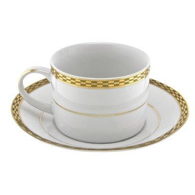 Athens Gold Rim 8 oz Teacup and Saucer Set of 6