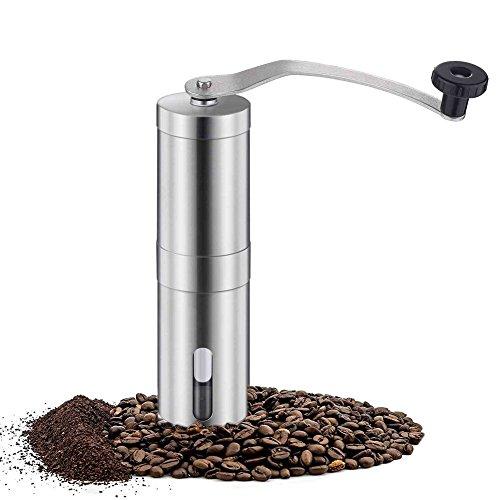 HALU Manual Coffee Grinder - Conical Burr Mill Stainless Steel, Hand Burr Coffee Grinder