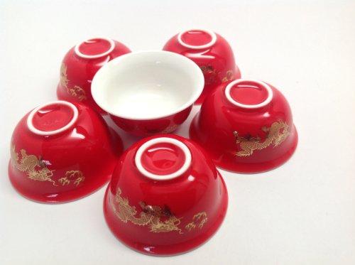 Dragon Tea Cups 6of Set 25-30cc