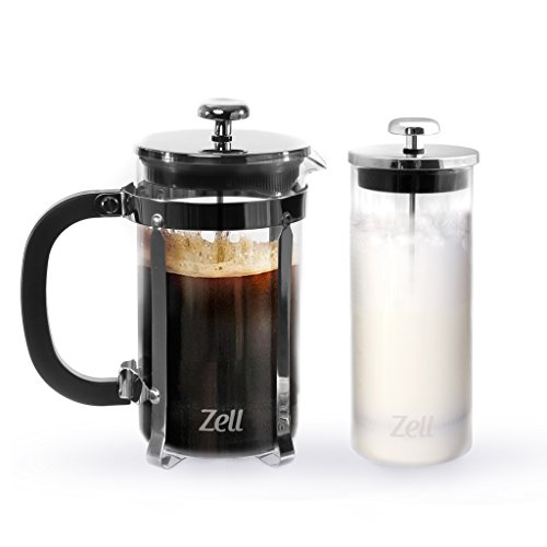 Zell French Press Coffee Maker with Stainless Steel Frame and Glass Milk Frother Set  Clear Strong Borosilicate Glass Tea Coffee Brewer with Bonus Milk Frother  34 Oz 1 Liter